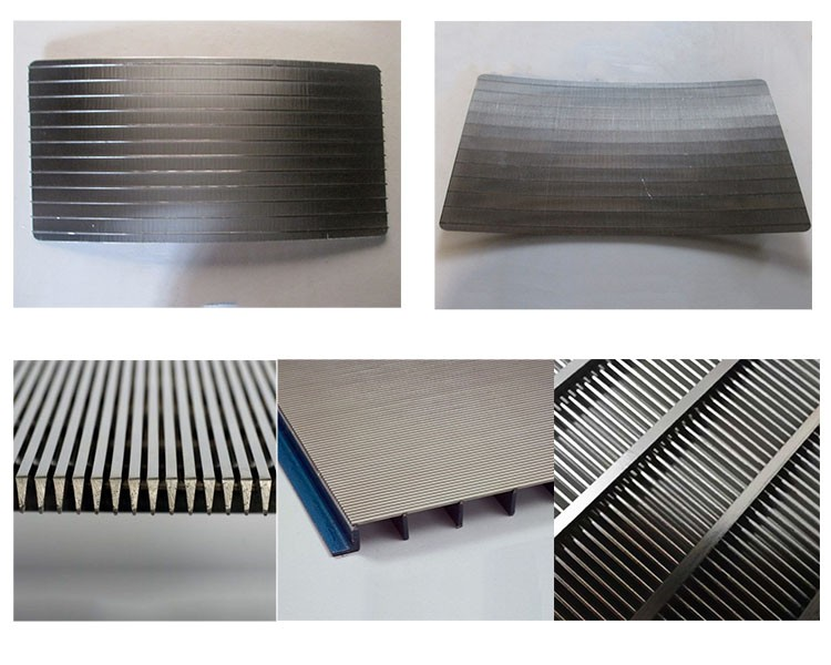 Tilted wire welded wedge wire sieve bend